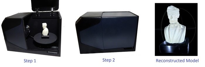 Step 1: Put the object into the scanner. Step 2: Close the scanner and hit scan. The 3D model will automatically be generated - rendering shown here.