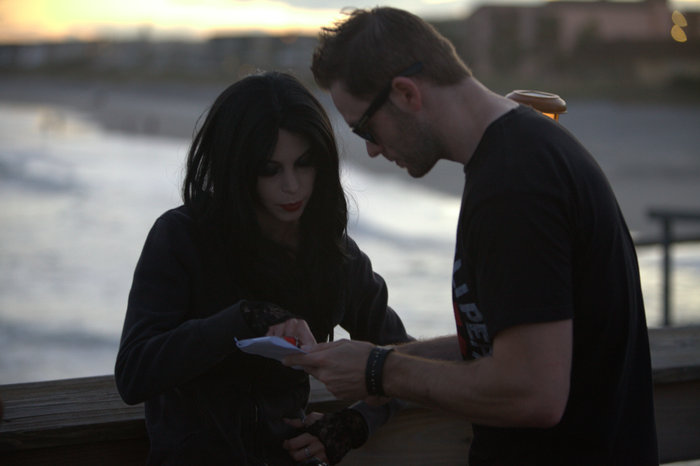 Bruce directing Amber on an episode of Florida in the Shadows