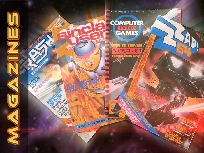 Retro gaming magazines featuring Hewson games on their covers
