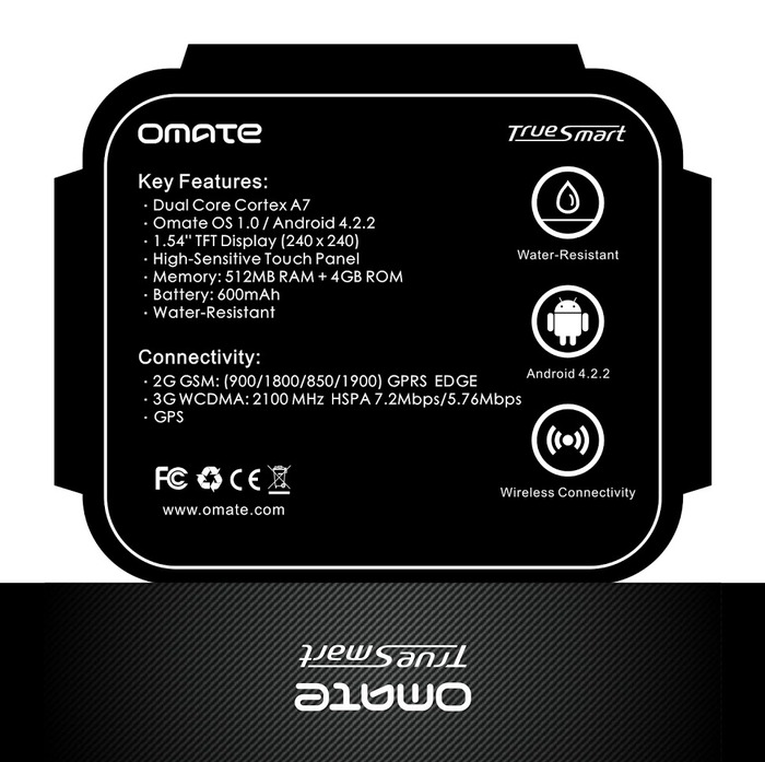 Bottom package info incl. FCC and CE