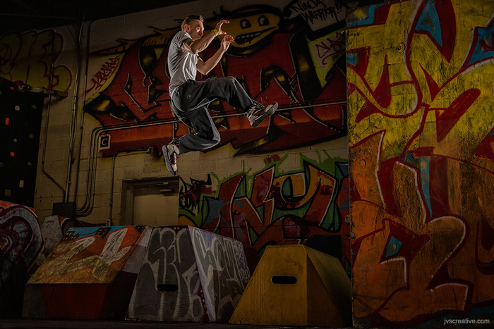 (3) MagGrids were used to light this Parkour instructor.  Each MagGrid makes it easier to only put light on the subject by reducing spill onto walls and other areas you don't want illuminated. © Joseph Victor Stefanchik