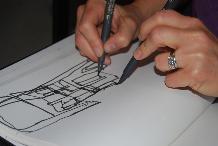 Deep Looking drawing with two hands