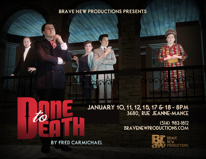 "The Cast of ""Done to Death"" (left to right): Bryan Librero (as Rodney Duckton), Zachary Brown (as Brad Benedict), Stephanie McKenna (as Jessica Olive), Sean Curley (as Whitney Olive), and Emma McQueen (as Mildred Z Maxwell)"