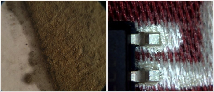 Microscope images of a silver trace on paper (left) and fabric (right)