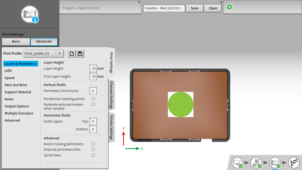 AutoMaker™ Beta 2.0 - Simple controls with a powerful advanced tab that allows users to tweak every variable and create their own print profiles