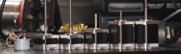 High specification motors from left to right - Nozzle, Z1, Z2, Extruder, X, Y. All have custom output shafts specifically designed for Robox. Z1 and Z2 have metric fine thread (M5x0.5mm) for unprecedented Z resolution.