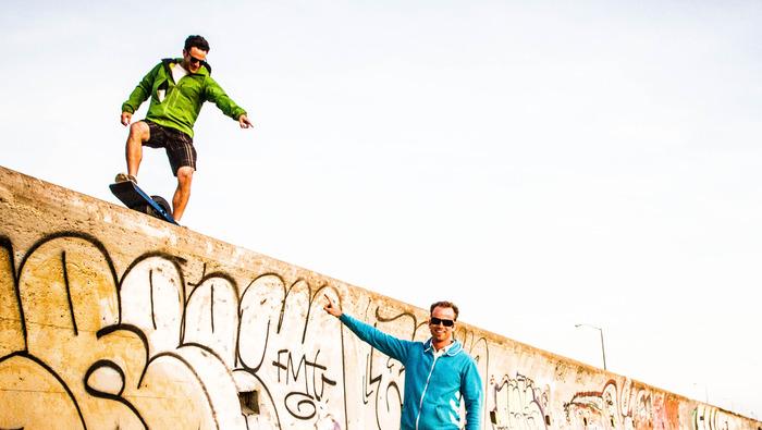 Onewheel Test Pilot Dan Goodwin (left) and Onewheel Inventor Kyle Doerksen (right)
