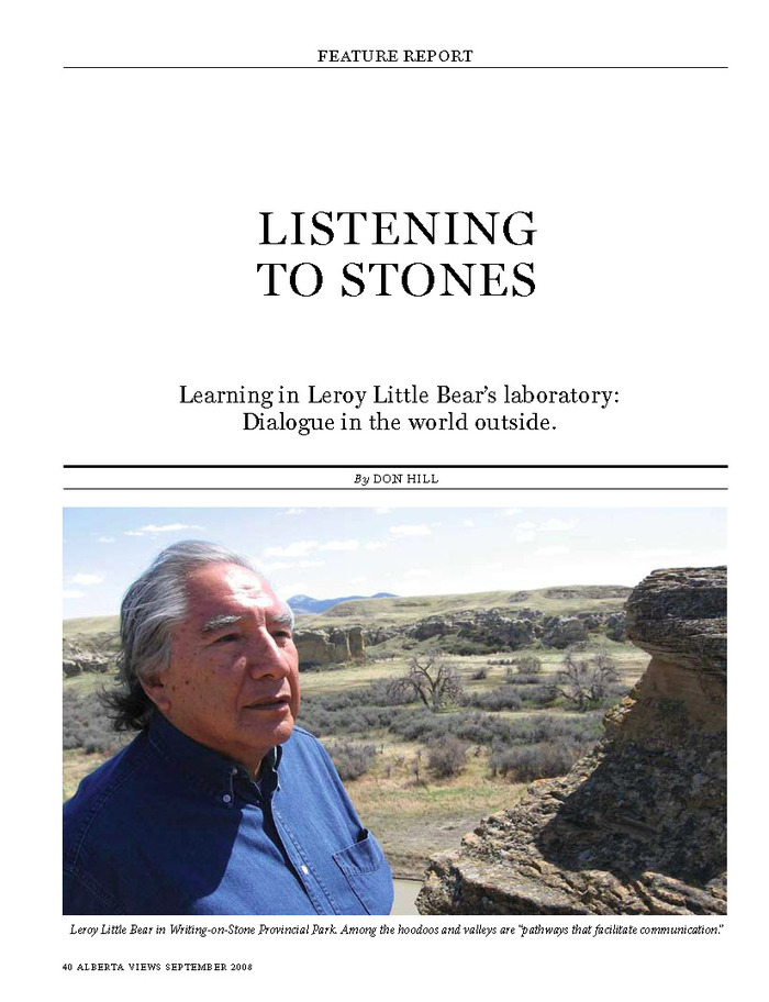 "Leroy Little Bear talks about ""songs in the land."" Click on this link to download the magazine story."
