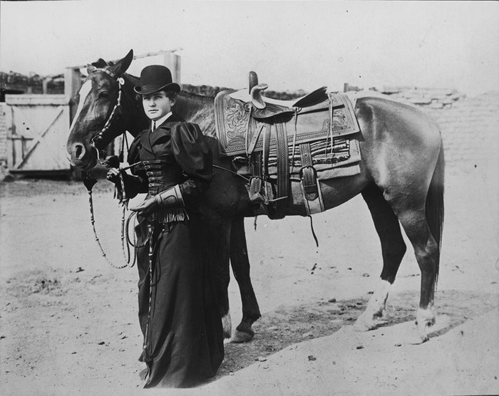 Women of that time were forced to ride side saddle. Hard to do, and the horses hated it.