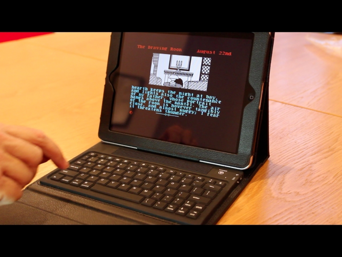 Currently available Bluetooth keyboard being used as a controller with an iPad.