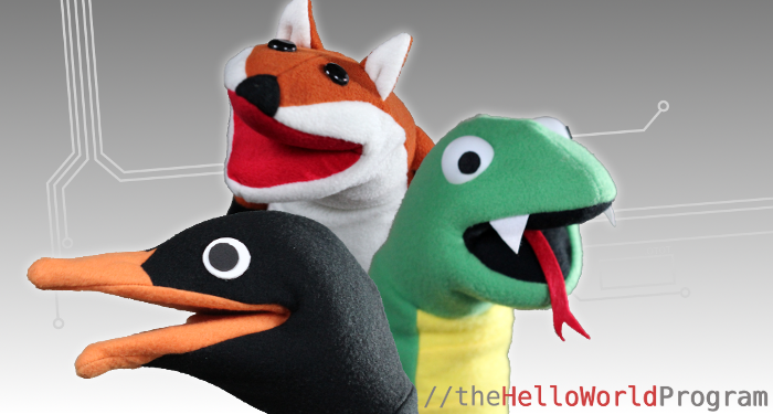 The Puppet Kit: Adelie the penguin, Daisy the fox, and Guido the python