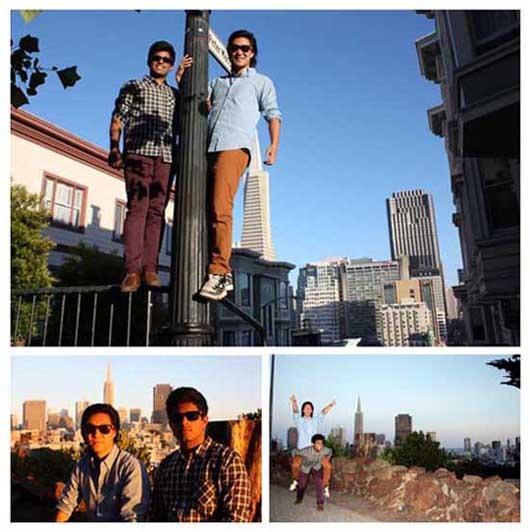 Calvin Chu & Ashish Bidadi hanging out in North Beach, San Francisco
