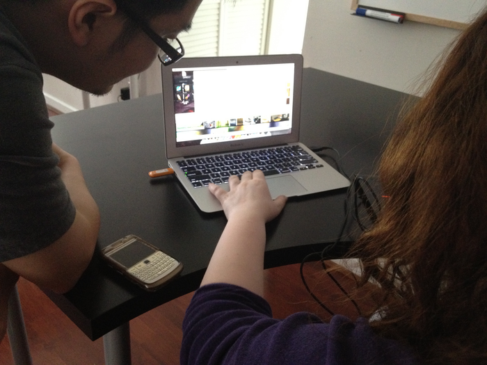 Tao and Ayla work on the game's colour palette