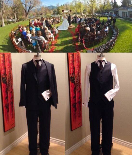 Custom tailored suit from Sharpe Suiting AND a customizable ceremony from Your Perfect Wedding $1100