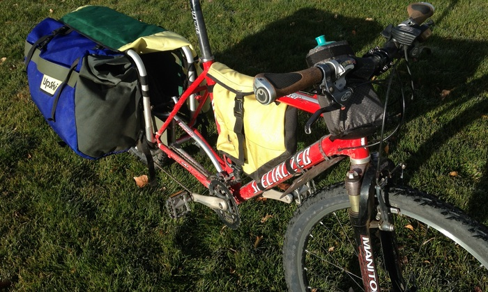 XtraCycle with UpSki ExtraHuge bags, Framebag, and handlebar bottle holster