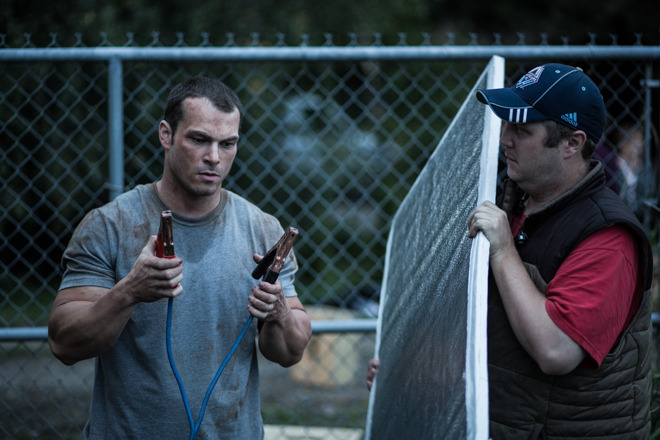 """Our Key Grip Mike """"saving faces"""" one bounce board at a time, as Shawn adds some spark to the scene.... see what I did there?"""