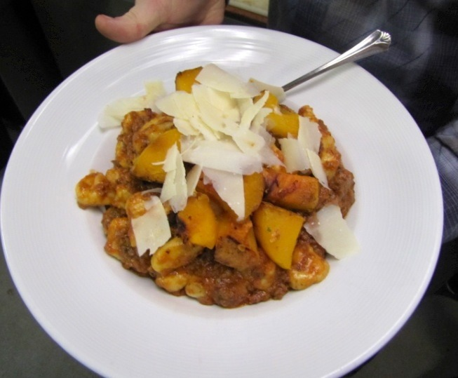 Wild Boar and Sausage Ragu with roasted butternut squash over gnocchi.