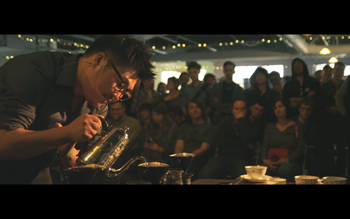 Tommy competing at the Barista Regional Championship 2013