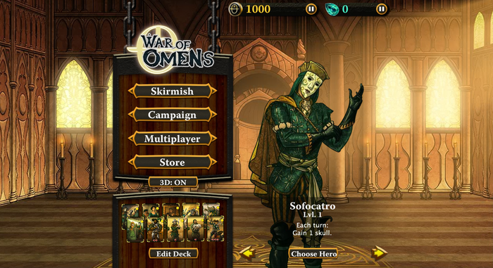 Sofocatro and the War of Omens Vespitole menu screen.