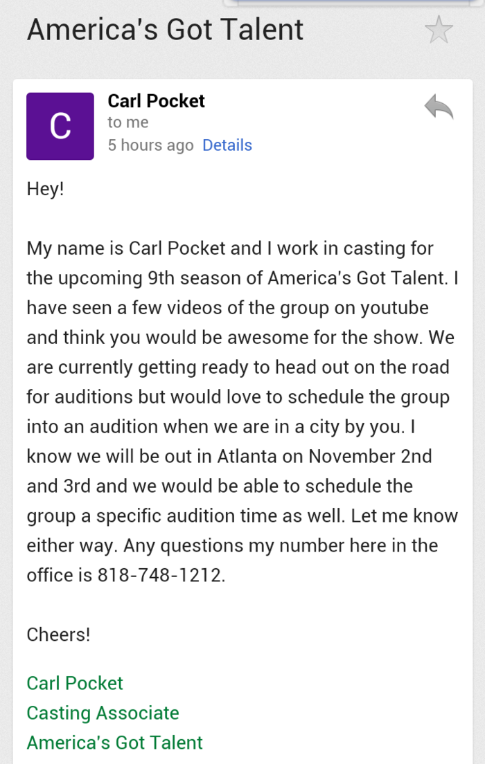 """Recently, a casting director for the hit television reality show, """"America's Got Talent"""" reached out to us and said they think we would be a great addition to the upcoming 9th season of the show. Never thought this was possible."""