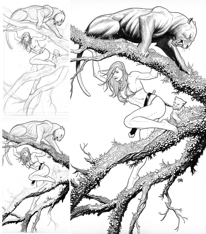 Frank will include this process art and walk you through how to use brush-and-ink to draw your own jungle queen.