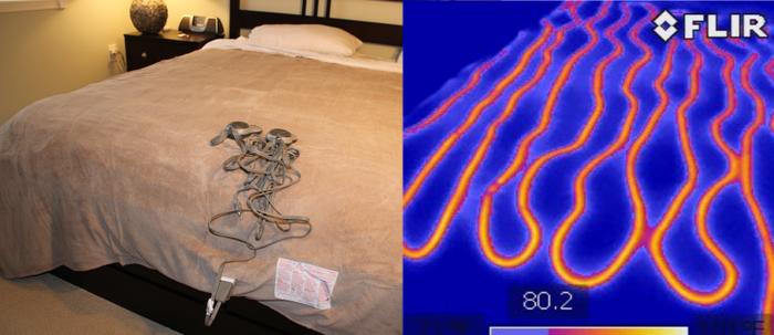 """Electric blanket on test bed, same electric blanket on same bed after 45 minutes on """"Hi"""""""