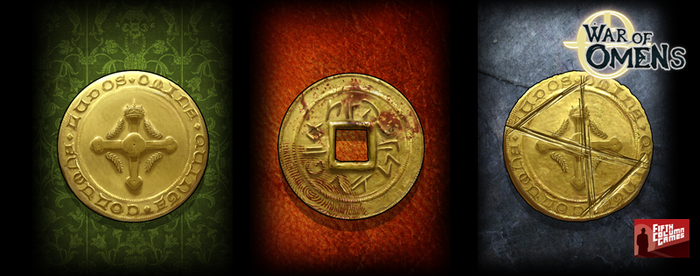 A trio of faction coins from War of Omens.