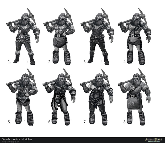 Astral Terra Male Dwarf Concepts
