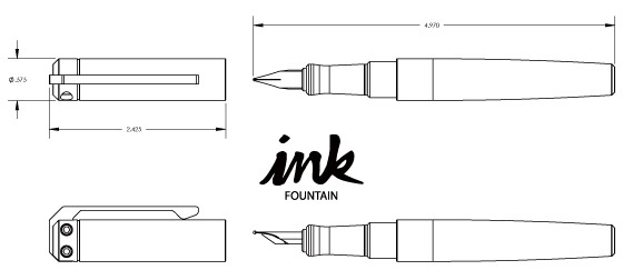 Ink Fountain Pen- 1.4 ounces for aluminum grip section, 1.6 ounces for copper and brass, including converter (no ink).