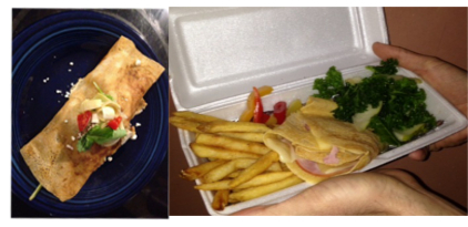 Mediterranean Crepe and Ham 'n Cheese Crepe with fries and Pear Kale Salad