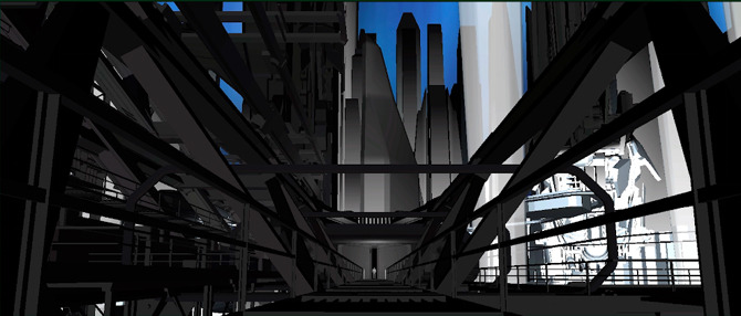 early previsualization of elevator at end of walkway
