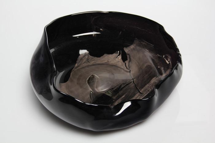 "Exposure of ocean onto glass form 13""x13"""