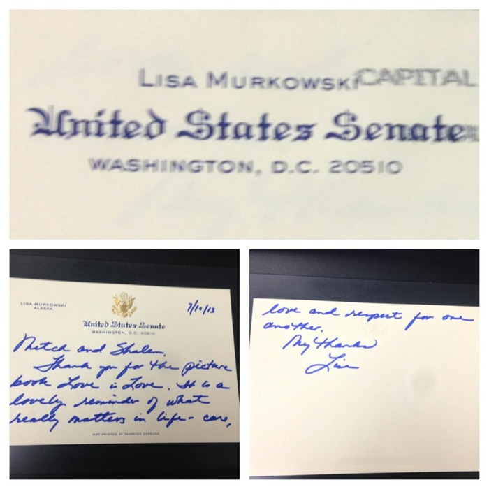 Senator Lisa Murkowski and Love is Love