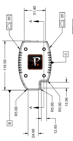 Hand drawn diagram of Pixeom dimensions and measurements