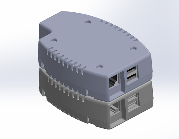 CAD drawing of Pixeom devices stacked up and connected together