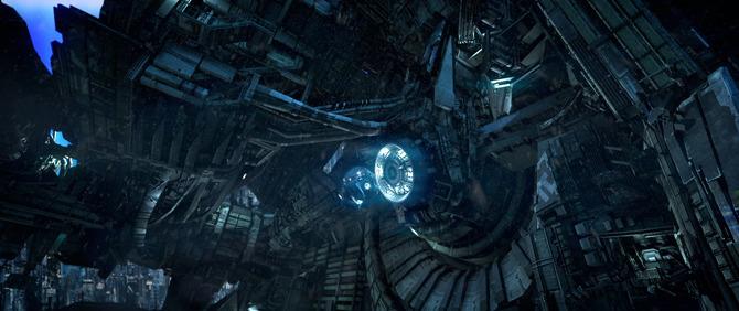Womb Pod docking at space elevator base