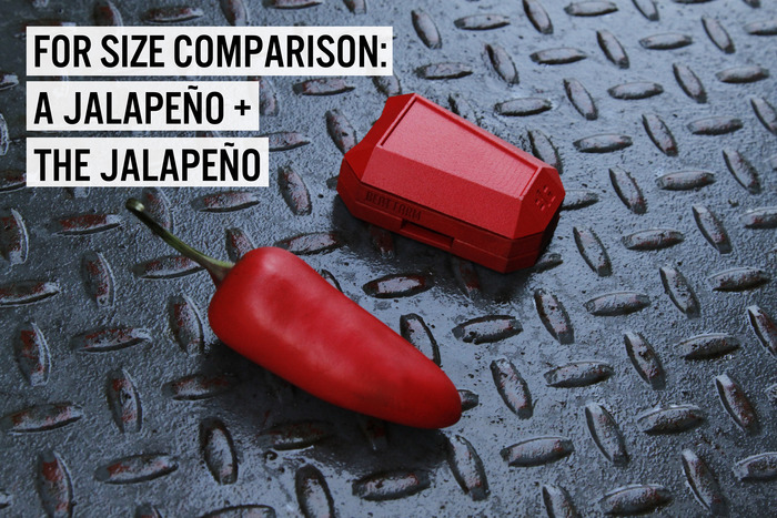 Assembled, the Jalapeño Beat Maker measures only 2.71in x 1.9in x 0.94in (LxWxH).