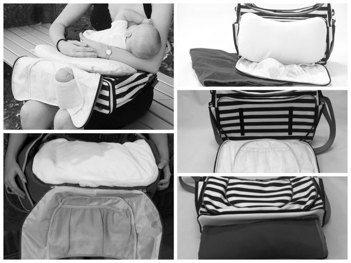 The pillow attaches via Velcro & is easily removed, while the play mat is stored in a convenient base compartment of the bag.