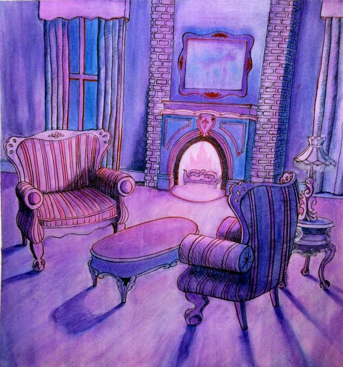 Finished Purple Wedge Background Art