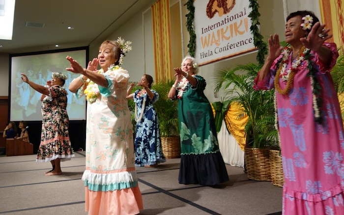 """Ex-Lexes"" ( as they are affectionately called) sharing a hula from ""back in the day"" at an HPS presentation, May 2013"