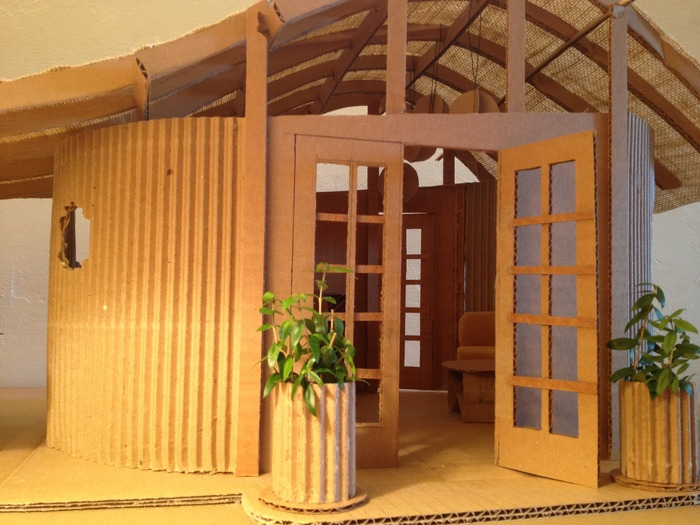 Close-up of the entryway of the scale model showing architectural detail.