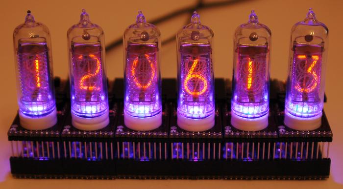 Six Smart Nixie Tubes running a clock application