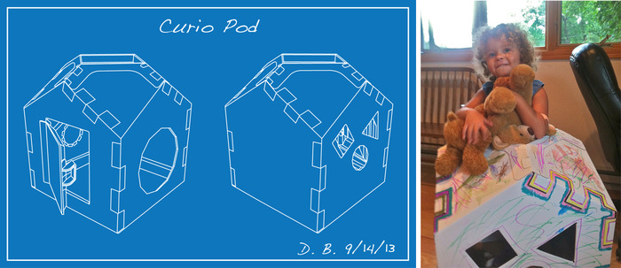 Drawing from our patent application and a happy Toy Tester welcomes a friend into her Curio Pod.