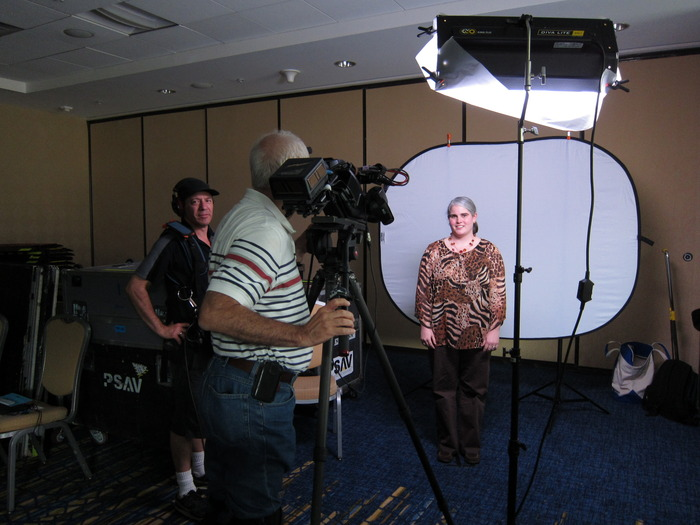 shooting an interview with a romance reader in Georgia