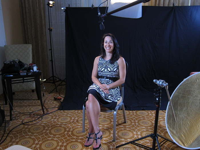 shooting an interview with author Bella Andre