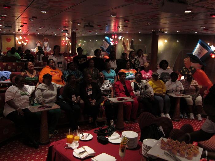 Brenda Jackson & her readers celebrating her 100th book on a cruise in Alaska