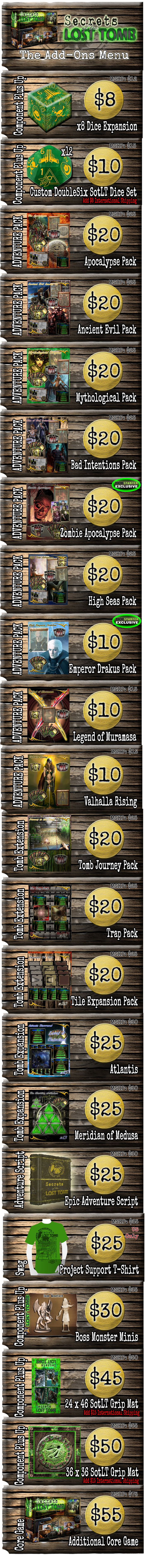 *International Backers Please Add 15 Dollars Additional Shipping for more than 1 Adventure Pack and Each Core Game Added in Add-O