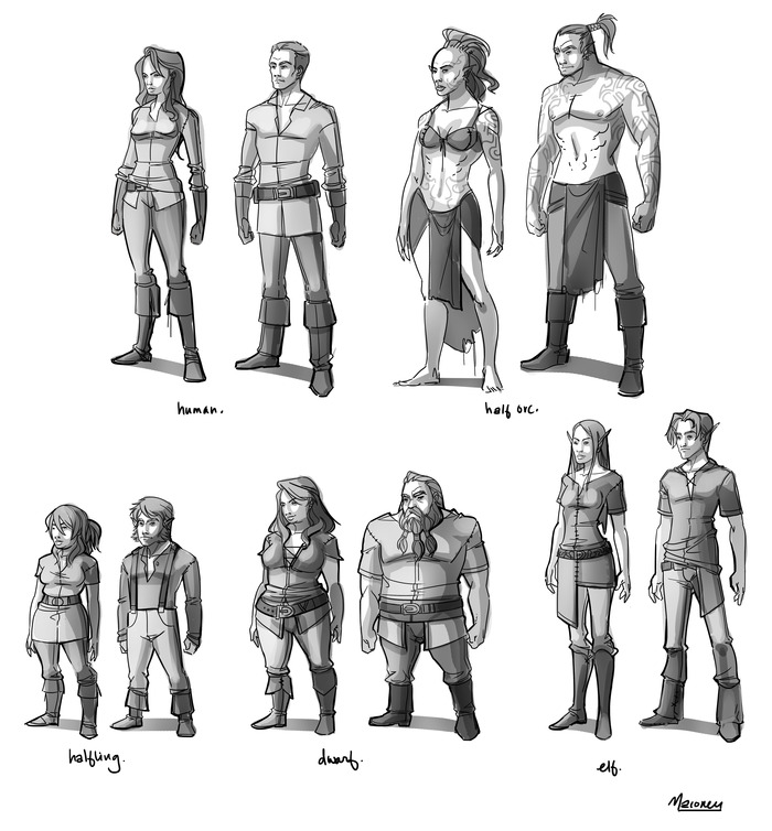 Our initial five fantasy races, with more coming as our first stretch goal!