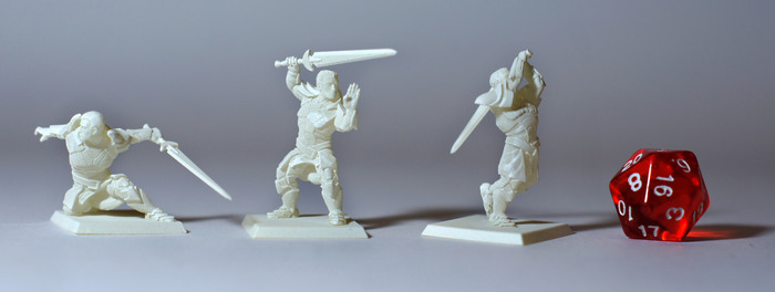 Your equipment selections are dynamically rigged to conform to your choice in pose and character. These three 30mm scale minis have the same equipment but are in different poses. Click for video!