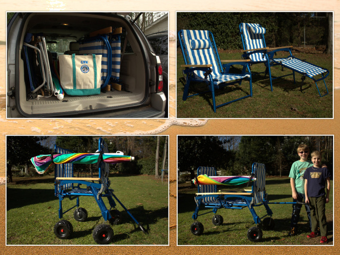 """Left to right/ top to bottom: 2 folded chairs packed with 2 legrests, a chair at the beach seat height and then fully extended seat height, and the chairs configured into either 1 """"single chair"""" wagon or 1 """"dual chair"""" wagon."""